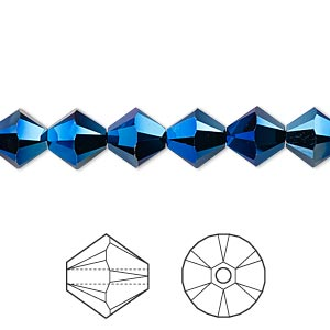 bead, swarovski crystals, crystal passions, crystal metallic blue 2x, 8mm xilion bicone (5328). sold per pkg of 72.