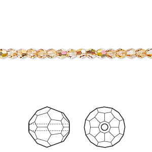 bead, swarovski crystals, crystal passions, crystal metallic sunshine, 3mm faceted round (5000). sold per pkg of 12.