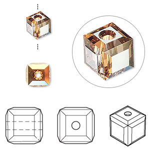 bead, swarovski crystals, crystal passions, crystal metallic sunshine, 6x6mm faceted cube (5601). sold per pkg of 6.