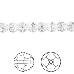 bead, swarovski crystals, crystal passions, crystal moonlight, 6mm faceted round (5000). sold per pkg of 12.