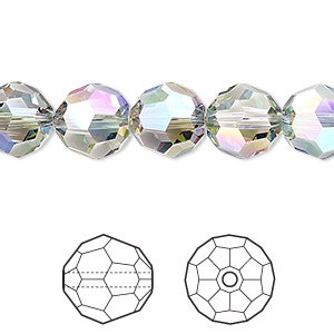 bead, swarovski crystals, crystal passions, crystal paradise shine, 10mm faceted round (5000). sold per pkg of 2.