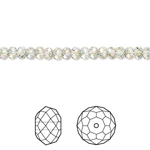 bead, swarovski crystals, crystal passions, crystal paradise shine, 4x3mm faceted rondelle (5040). sold per pkg of 12.