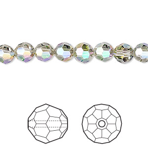 bead, swarovski crystals, crystal passions, crystal paradise shine, 6mm faceted round (5000). sold per pkg of 144 (1 gross).