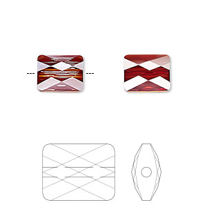 bead, swarovski crystals, crystal passions, crystal red magma, 10x8mm faceted mini rectangle (5055). sold per pkg of 24.