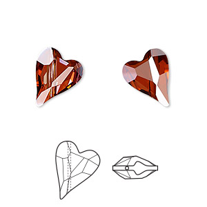 bead, swarovski crystals, crystal passions, crystal red magma, 12x10mm diagonally drilled faceted wild heart (5743). sold per pkg of 12.