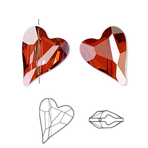 bead, swarovski crystals, crystal passions, crystal red magma, 17x13mm diagonally drilled left- and right-facing faceted wild heart (5743). sold per pkg of 2.