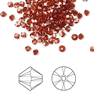 bead, swarovski crystals, crystal passions, crystal red magma, 3mm xilion bicone (5328). sold per pkg of 48.