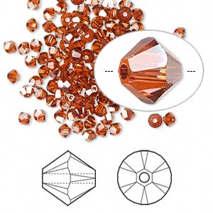 bead, swarovski crystals, crystal passions, crystal red magma, 3mm xilion bicone (5328). sold per pkg of 144 (1 gross).