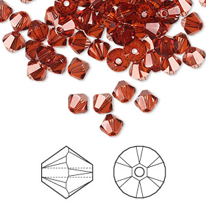 bead, swarovski crystals, crystal passions, crystal red magma, 5mm xilion bicone (5328). sold per pkg of 720 (5 gross).