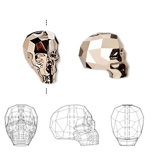 bead, swarovski crystals, crystal passions, crystal rose gold 2x, 14x13x10mm faceted skull (5750). sold individually.