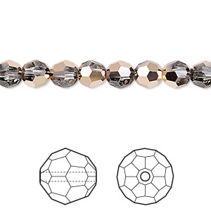 bead, swarovski crystals, crystal passions, crystal rose gold, 6mm faceted round (5000). sold per pkg of 12.