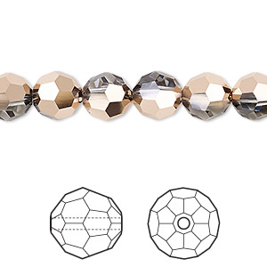 bead, swarovski crystals, crystal passions, crystal rose gold, 8mm faceted round (5000). sold per pkg of 144 (1 gross).