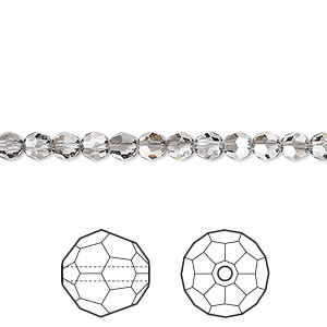 bead, swarovski crystals, crystal passions, crystal satin, 4mm faceted round (5000). sold per pkg of 12.
