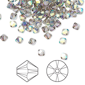 bead, swarovski crystals, crystal passions, crystal satin ab, 4mm xilion bicone (5328). sold per pkg of 144 (1 gross).