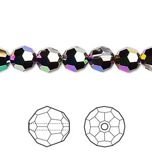 bead, swarovski crystals, crystal passions, crystal scarabaeus green, 8mm faceted round (5000). sold per pkg of 144 (1 gross).