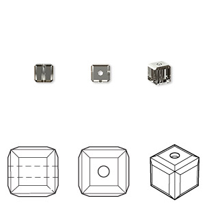 bead, swarovski crystals, crystal passions, crystal silver night, 4x4mm faceted cube (5601). sold per pkg of 48.