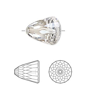 bead, swarovski crystals, crystal passions, crystal silver shade, 15x13.5mm faceted dome large (5541). sold per pkg of 6.