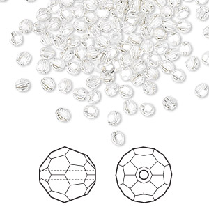 bead, swarovski crystals, crystal passions, crystal silver shade, 3mm faceted round (5000). sold per pkg of 12.