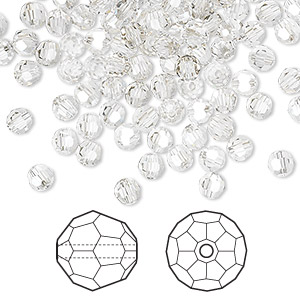bead, swarovski crystals, crystal passions, crystal silver shade, 4mm faceted round (5000). sold per pkg of 144 (1 gross).