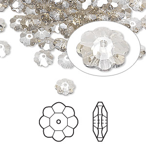 bead, swarovski crystals, crystal passions, crystal silver shade, 6x2mm faceted marguerite lochrose flower (3700). sold per pkg of 12.