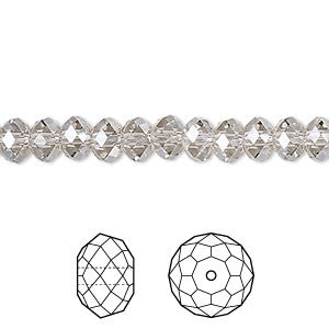 bead, swarovski crystals, crystal passions, crystal silver shade, 6x4mm faceted rondelle (5040). sold per pkg of 12.