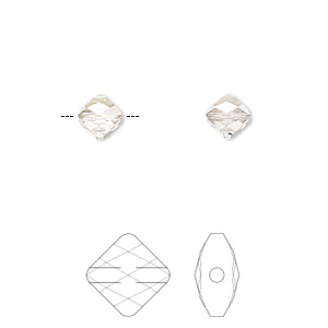 bead, swarovski crystals, crystal passions, crystal silver shade, 6x6mm faceted mini rhombus (5054). sold per pkg of 2.