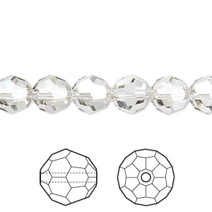 bead, swarovski crystals, crystal passions, crystal silver shade, 8mm faceted round (5000). sold per pkg of 12.