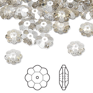 bead, swarovski crystals, crystal passions, crystal silver shade, 8x3mm faceted marguerite lochrose flower (3700). sold per pkg of 144 (1 gross).