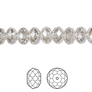 bead, swarovski crystals, crystal passions, crystal silver shade, 8x6mm faceted rondelle (5040). sold per pkg of 144 (1 gross).