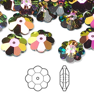 bead, swarovski crystals, crystal passions, crystal vitrail medium, 12x4mm faceted marguerite lochrose flower (3700). sold per pkg of 12.