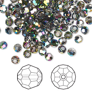 bead, swarovski crystals, crystal passions, crystal vitrail medium, 4mm faceted round (5000). sold per pkg of 144 (1 gross).