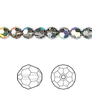 bead, swarovski crystals, crystal passions, crystal vitrail medium, 6mm faceted round (5000). sold per pkg of 12.