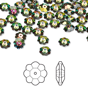 bead, swarovski crystals, crystal passions, crystal vitrail medium, 6x2mm faceted marguerite lochrose flower (3700). sold per pkg of 12.