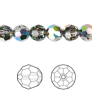 bead, swarovski crystals, crystal passions, crystal vitrail medium, 8mm faceted round (5000). sold per pkg of 12.