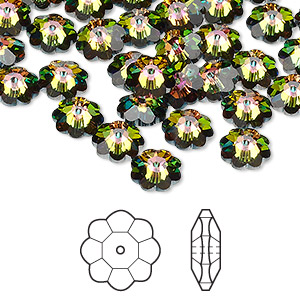 bead, swarovski crystals, crystal passions, crystal vitrail medium, 8x3mm faceted marguerite lochrose flower (3700). sold per pkg of 12.
