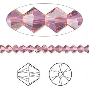 bead, swarovski crystals, crystal passions, cyclamen opal, 4mm xilion bicone (5328). sold per pkg of 144 (1 gross).