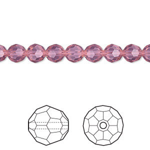 bead, swarovski crystals, crystal passions, cyclamen opal, 6mm faceted round (5000). sold per pkg of 144 (1 gross).