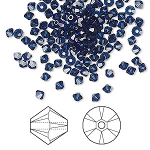 bead, swarovski crystals, crystal passions, dark indigo, 3mm xilion bicone (5328). sold per pkg of 144 (1 gross).