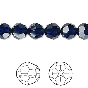bead, swarovski crystals, crystal passions, dark indigo, 8mm faceted round (5000). sold per pkg of 12.