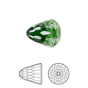 bead, swarovski crystals, crystal passions, dark moss green, 15x13.5mm faceted dome large (5541). sold individually.