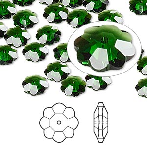 bead, swarovski crystals, crystal passions, dark moss green, 8x3mm faceted marguerite lochrose flower (3700). sold per pkg of 12.