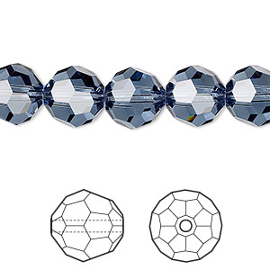 bead, swarovski crystals, crystal passions, denim blue, 10mm faceted round (5000). sold per pkg of 2.