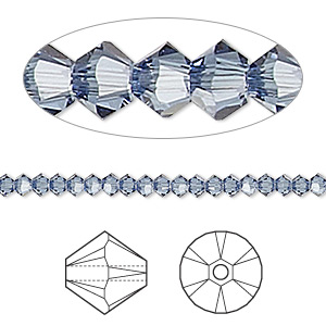 bead, swarovski crystals, crystal passions, denim blue, 3mm xilion bicone (5328). sold per pkg of 144 (1 gross).