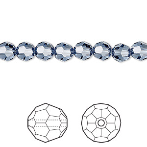 bead, swarovski crystals, crystal passions, denim blue, 6mm faceted round (5000). sold per pkg of 144 (1 gross).