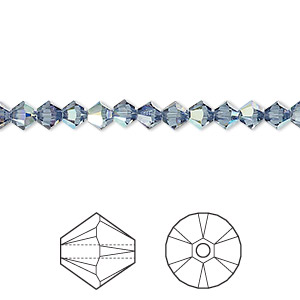 bead, swarovski crystals, crystal passions, denim blue ab, 4mm xilion bicone (5328). sold per pkg of 144 (1 gross).