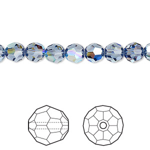 bead, swarovski crystals, crystal passions, denim blue ab, 6mm faceted round (5000). sold per pkg of 144 (1 gross).