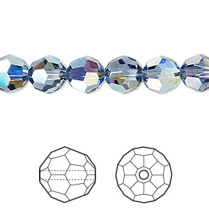 bead, swarovski crystals, crystal passions, denim blue ab, 8mm faceted round (5000). sold per pkg of 12.