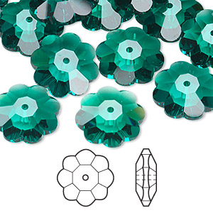 bead, swarovski crystals, crystal passions, emerald, 14x5mm faceted marguerite lochrose flower (3700). sold per pkg of 144 (1 gross).