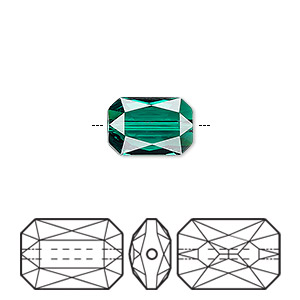 bead, swarovski crystals, crystal passions, emerald, 14x9.5mm faceted emerald cut (5515). sold per pkg of 6.