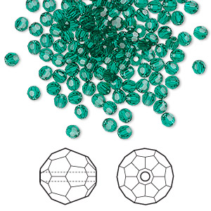 bead, swarovski crystals, crystal passions, emerald, 3mm faceted round (5000). sold per pkg of 144 (1 gross).